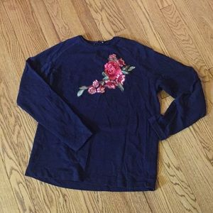Zara navy pullover with rose appliqué